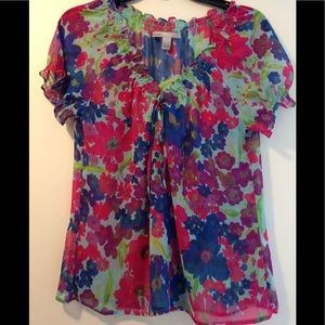 Old Navy sheer floral blouse - small